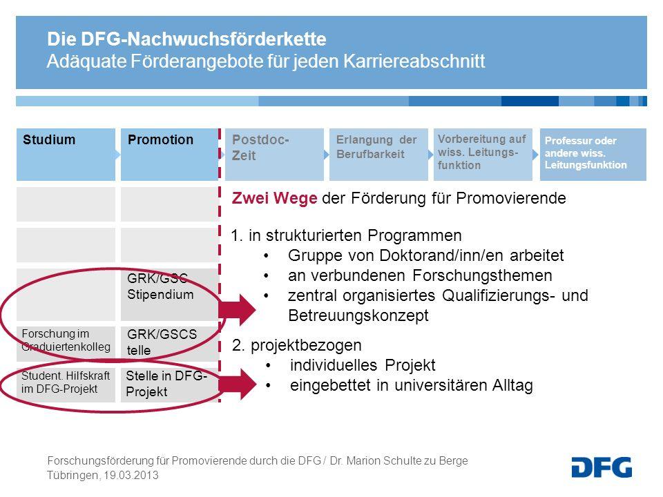 Die DFG-Nachwuchsförderkette