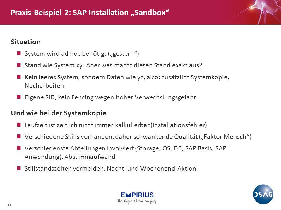 """Praxis-Beispiel 2: SAP Installation """"Sandbox"""