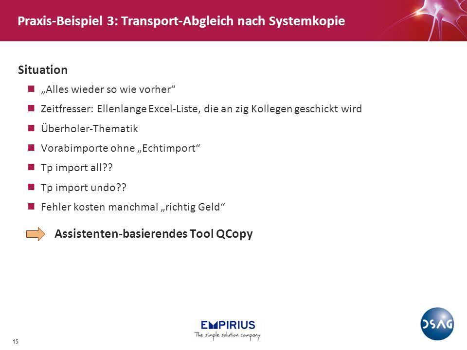 Praxis-Beispiel 3: Transport-Abgleich nach Systemkopie