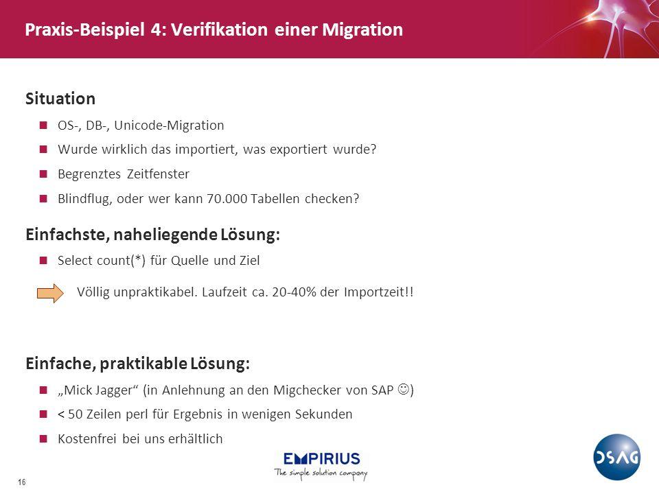 Praxis-Beispiel 4: Verifikation einer Migration