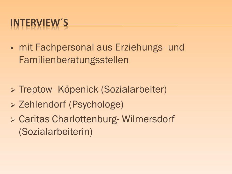 Interview´s mit Fachpersonal aus Erziehungs- und Familienberatungsstellen. Treptow- Köpenick (Sozialarbeiter)