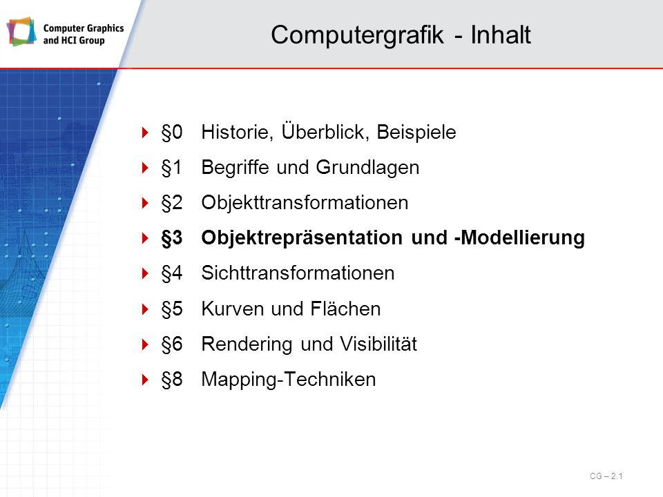 Computergrafik - Inhalt