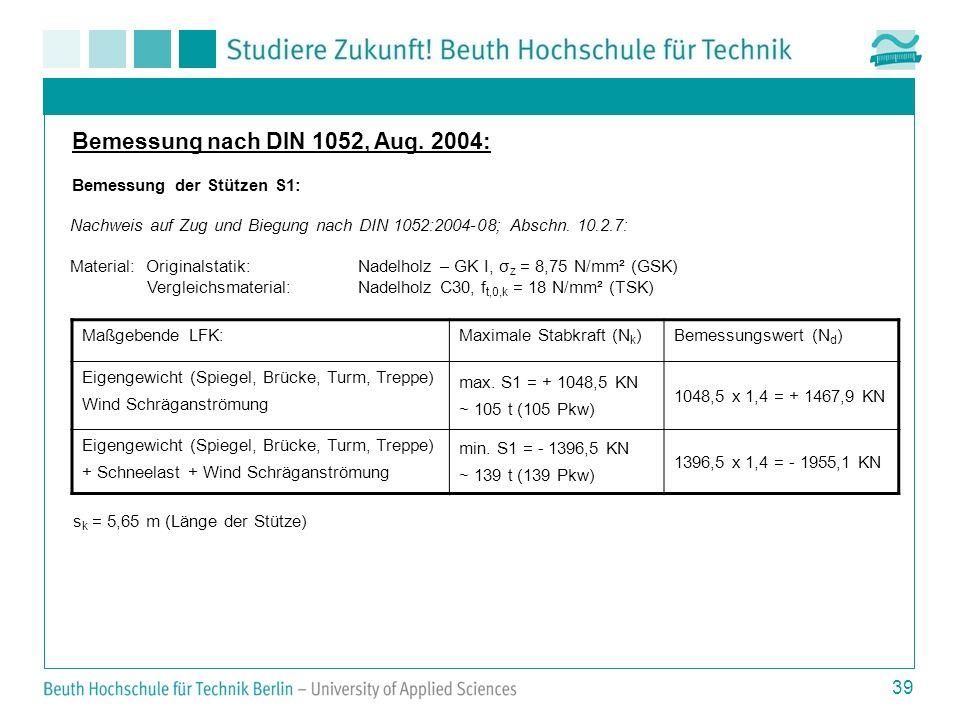 Bemessung nach DIN 1052, Aug. 2004: