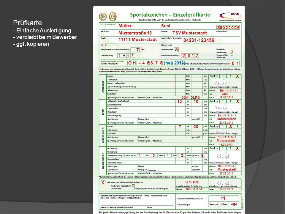 Prüfkarte Einfache Ausfertigung verbleibt beim Bewerber ggf. kopieren