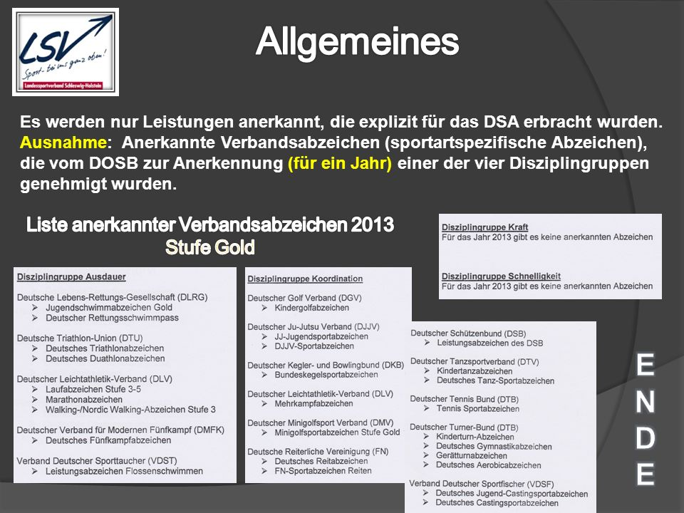 Liste anerkannter Verbandsabzeichen 2013