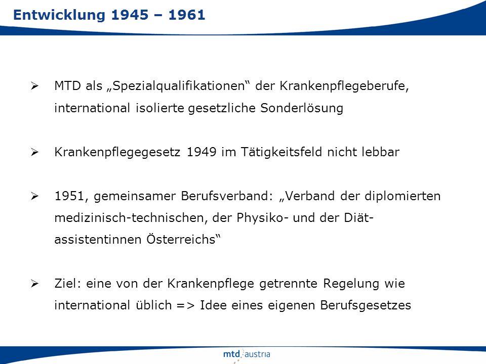 """Entwicklung 1945 – 1961 MTD als """"Spezialqualifikationen der Krankenpflegeberufe, international isolierte gesetzliche Sonderlösung."""
