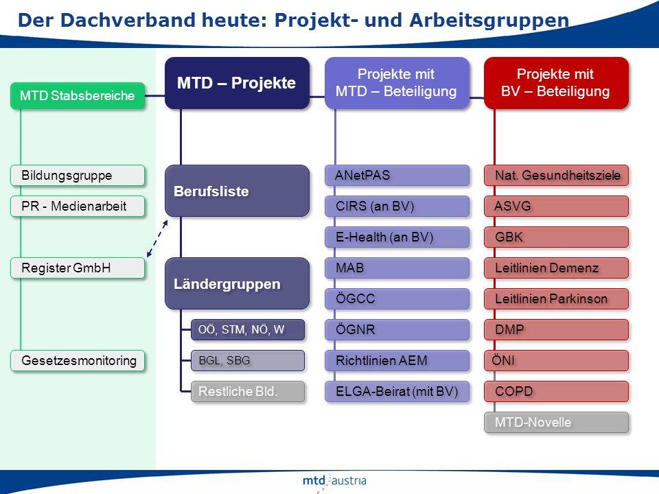 Der Dachverband heute: Projekt- und Arbeitsgruppen