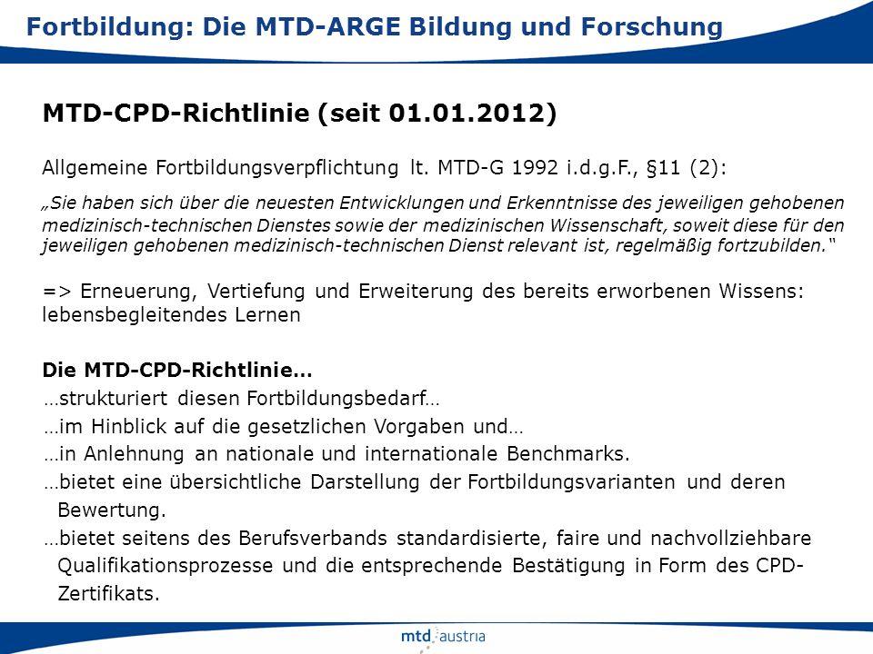 Fortbildung: Die MTD-ARGE Bildung und Forschung