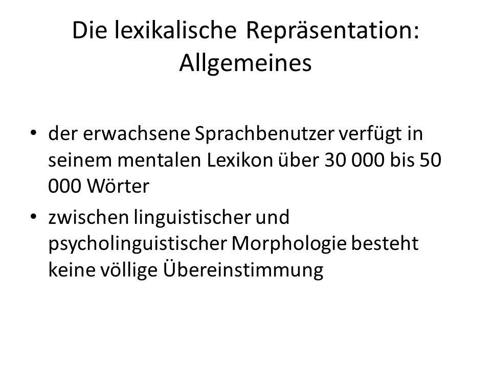 Die lexikalische Repräsentation: Allgemeines
