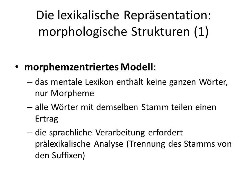 Die lexikalische Repräsentation: morphologische Strukturen (1)