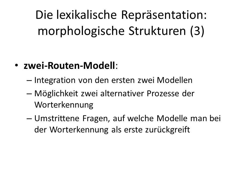 Die lexikalische Repräsentation: morphologische Strukturen (3)