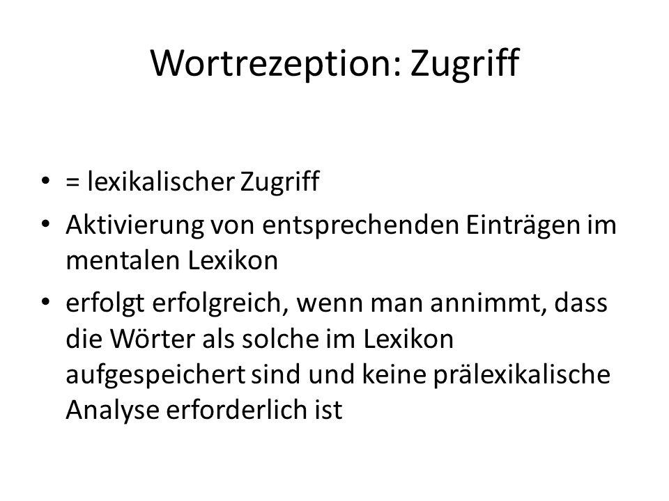 Wortrezeption: Zugriff