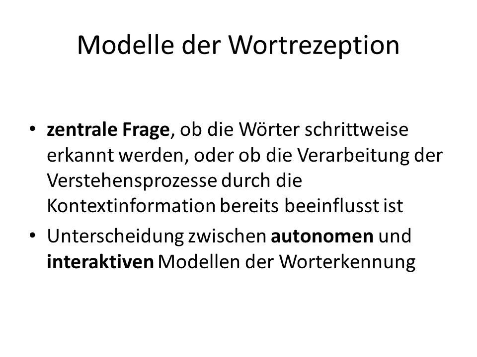 Modelle der Wortrezeption