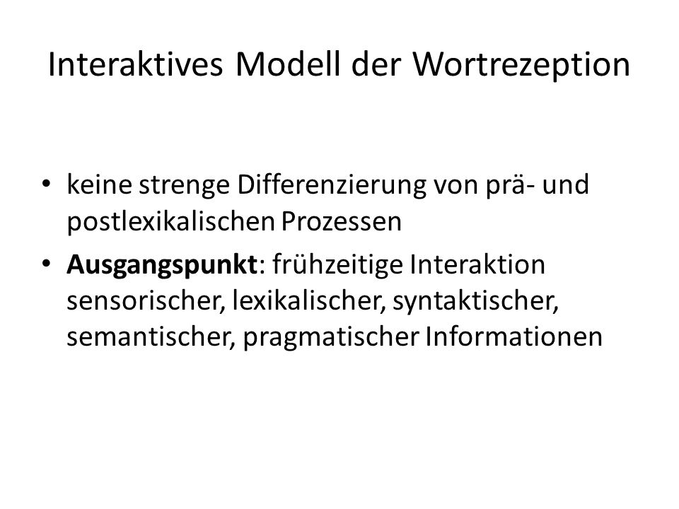 Interaktives Modell der Wortrezeption