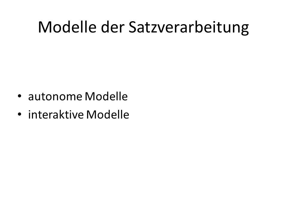 Modelle der Satzverarbeitung