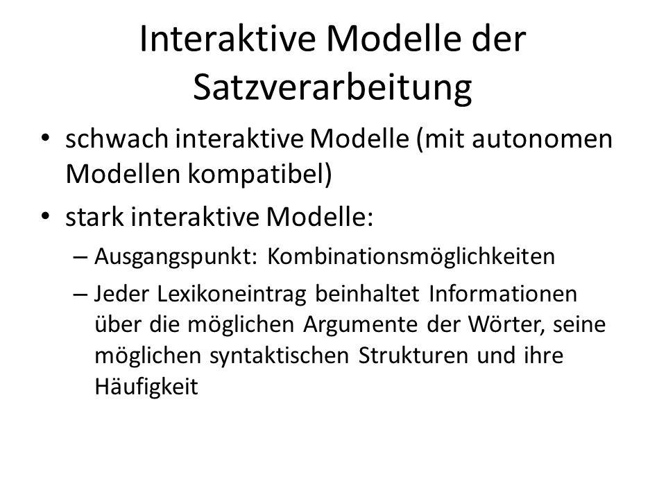 Interaktive Modelle der Satzverarbeitung