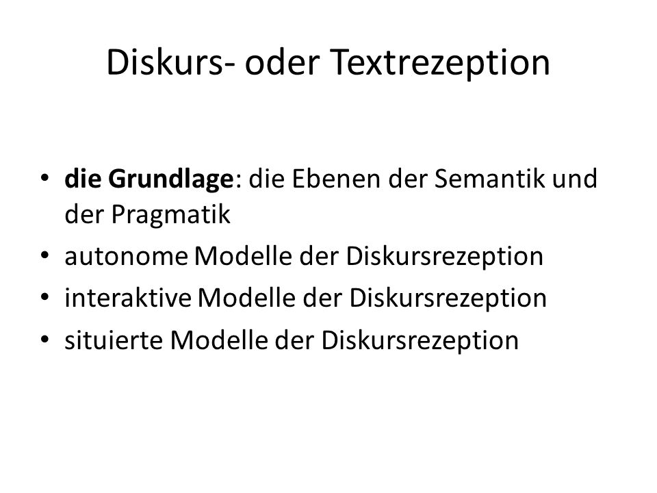 Diskurs- oder Textrezeption
