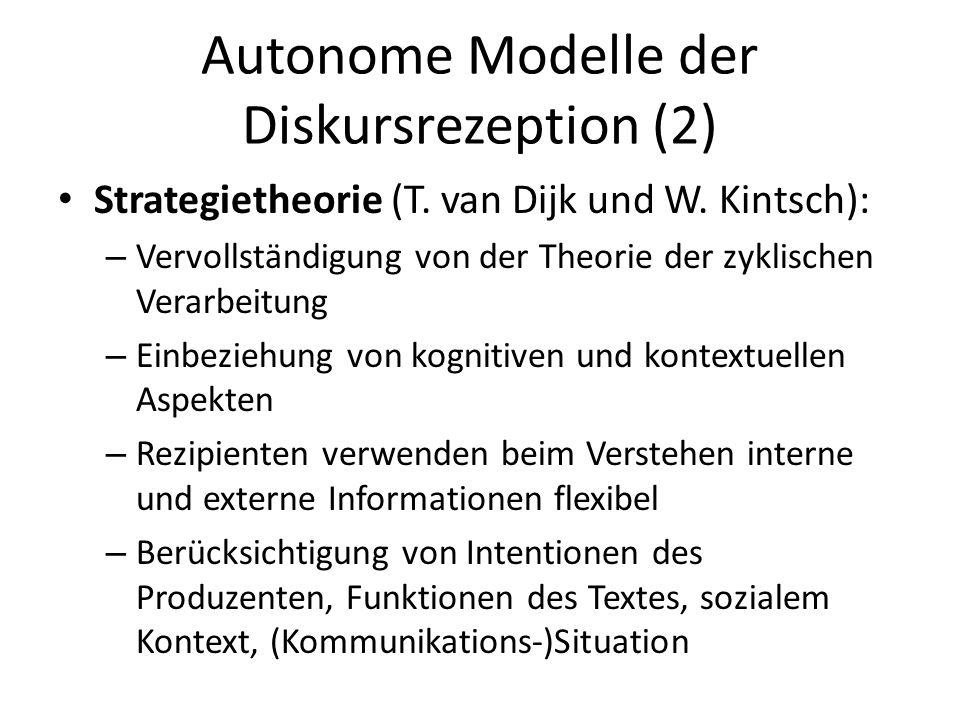 Autonome Modelle der Diskursrezeption (2)