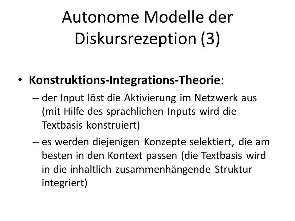 Autonome Modelle der Diskursrezeption (3)