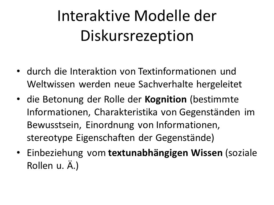 Interaktive Modelle der Diskursrezeption
