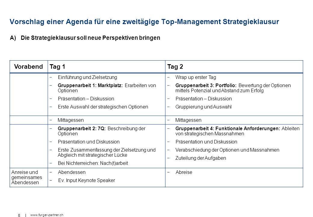 Vorschlag einer Agenda für eine zweitägige Top-Management Strategieklausur