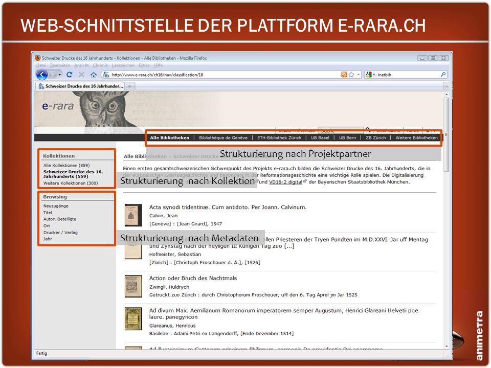 WEB-SCHNITTSTELLE DER PLATTFORM E-RARA.CH