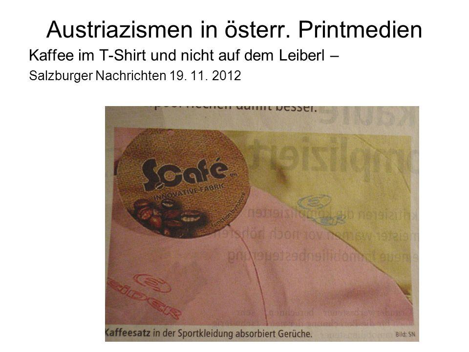 Austriazismen in österr. Printmedien
