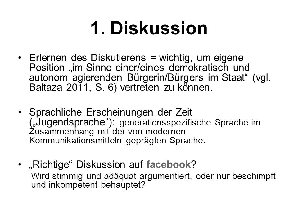 1. Diskussion
