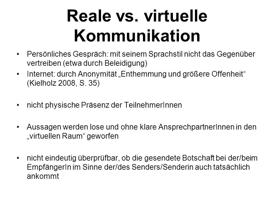 Reale vs. virtuelle Kommunikation