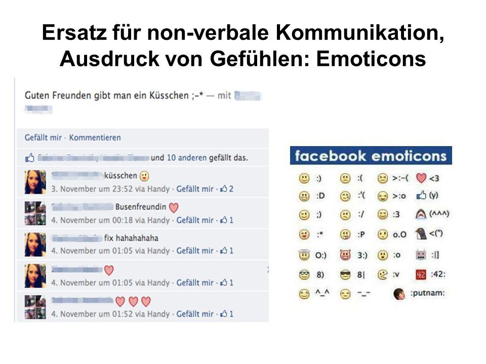 Ersatz für non-verbale Kommunikation, Ausdruck von Gefühlen: Emoticons