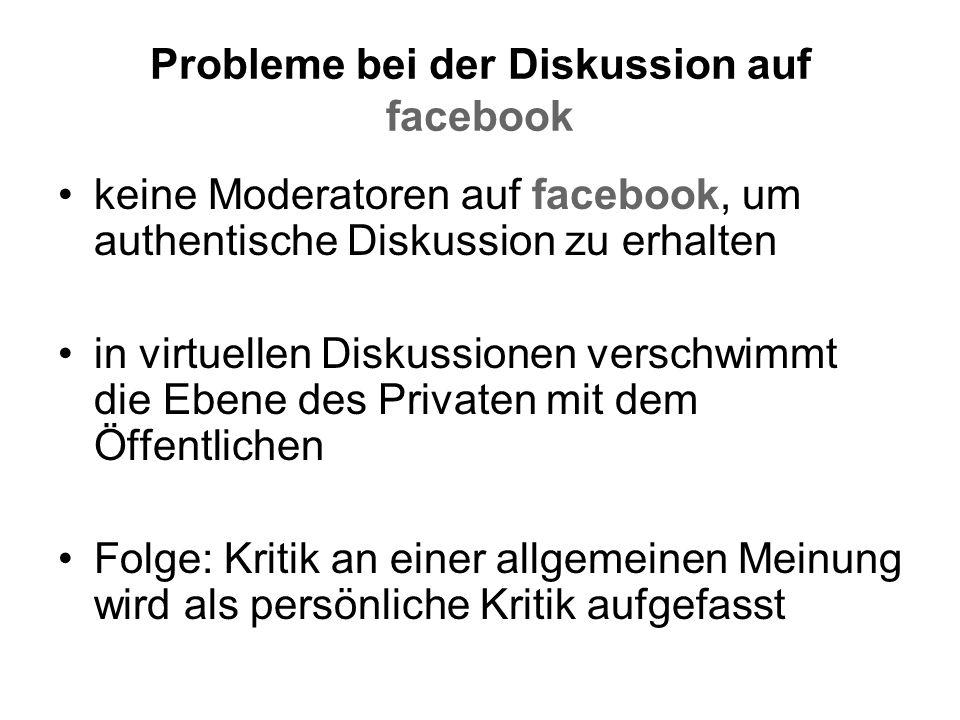 Probleme bei der Diskussion auf facebook