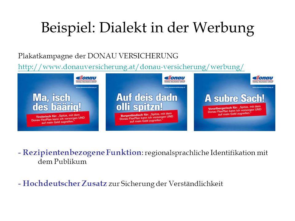 Beispiel: Dialekt in der Werbung