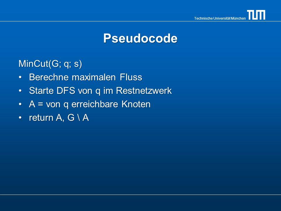 Pseudocode MinCut(G; q; s) Berechne maximalen Fluss