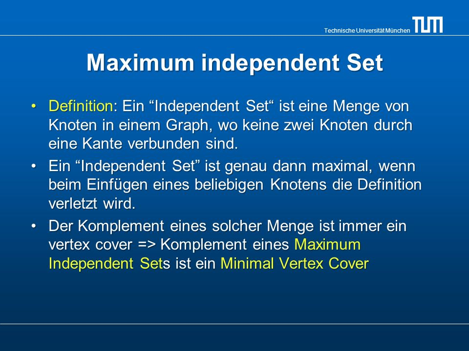 Maximum independent Set