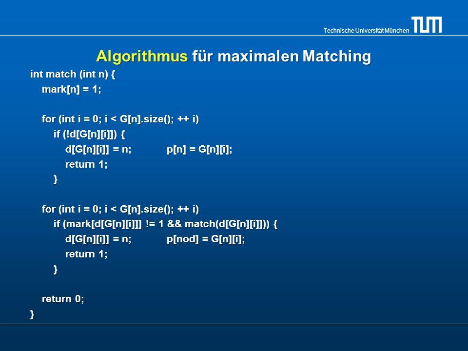 Algorithmus für maximalen Matching
