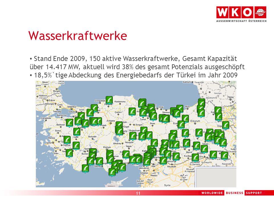 Wasserkraftwerke Stand Ende 2009, 150 aktive Wasserkraftwerke, Gesamt Kapazität über 14.417 MW, aktuell wird 38% des gesamt Potenzials ausgeschöpft.