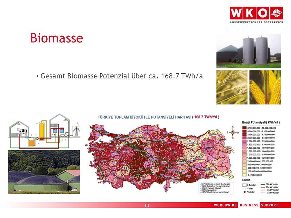 Biomasse Gesamt Biomasse Potenzial über ca. 168.7 TWh/a