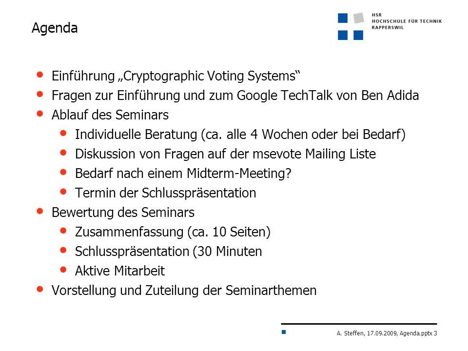 """Agenda Einführung """"Cryptographic Voting Systems"""