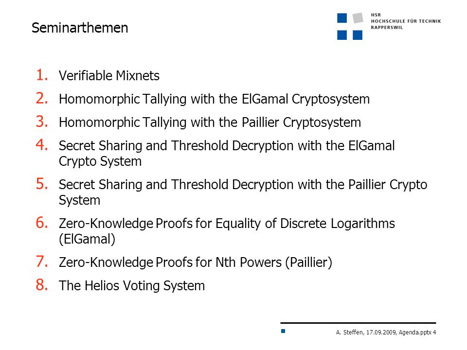 Seminarthemen Verifiable Mixnets