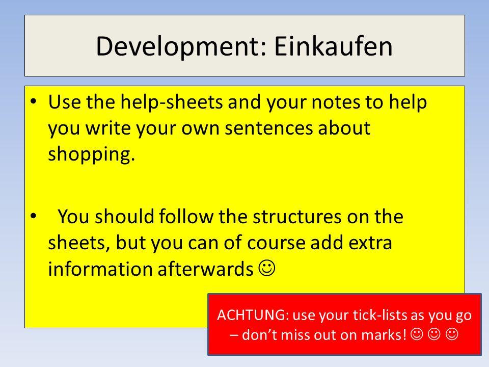 Development: Einkaufen