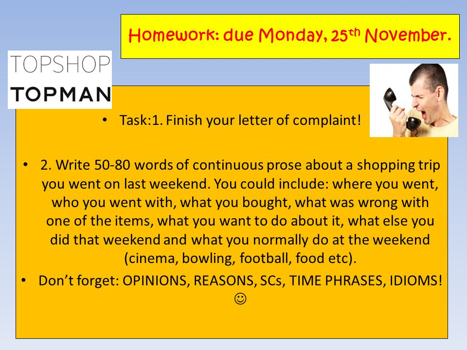 Homework: due Monday, 25th November.