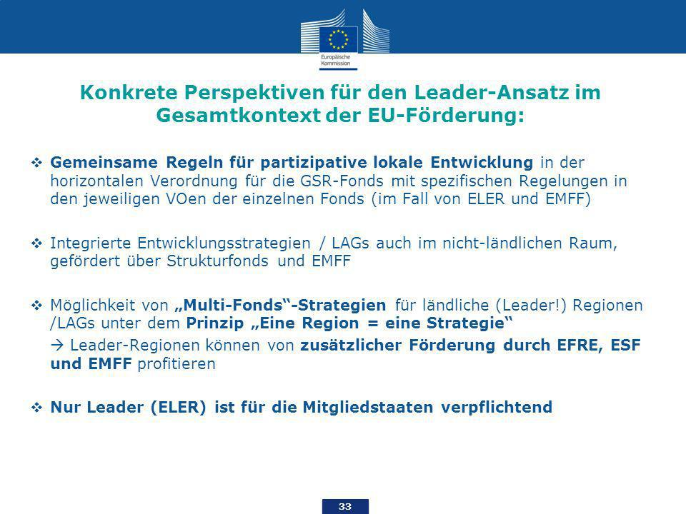 Konkrete Perspektiven für den Leader-Ansatz im Gesamtkontext der EU-Förderung: