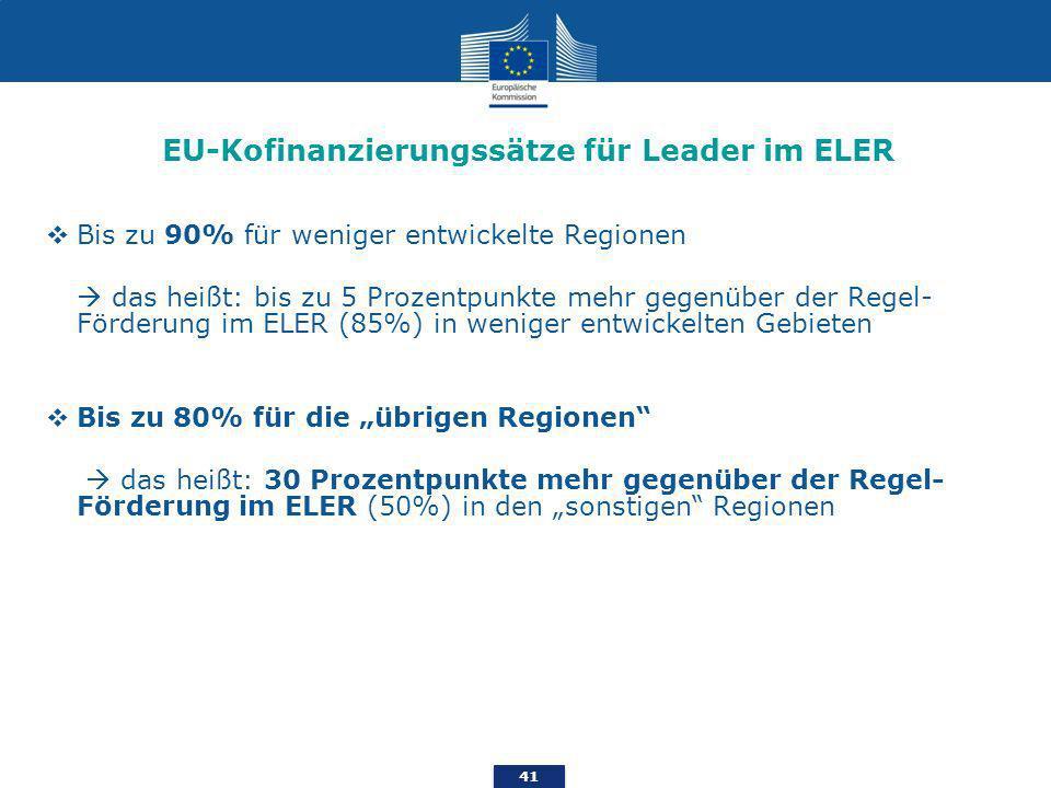 EU-Kofinanzierungssätze für Leader im ELER