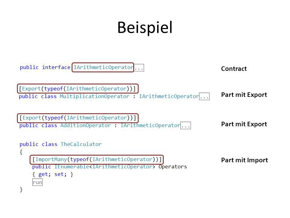 Beispiel Contract Part mit Export Part mit Export Part mit Import