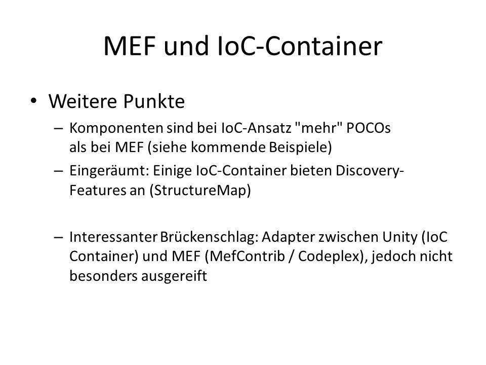 MEF und IoC-Container Weitere Punkte