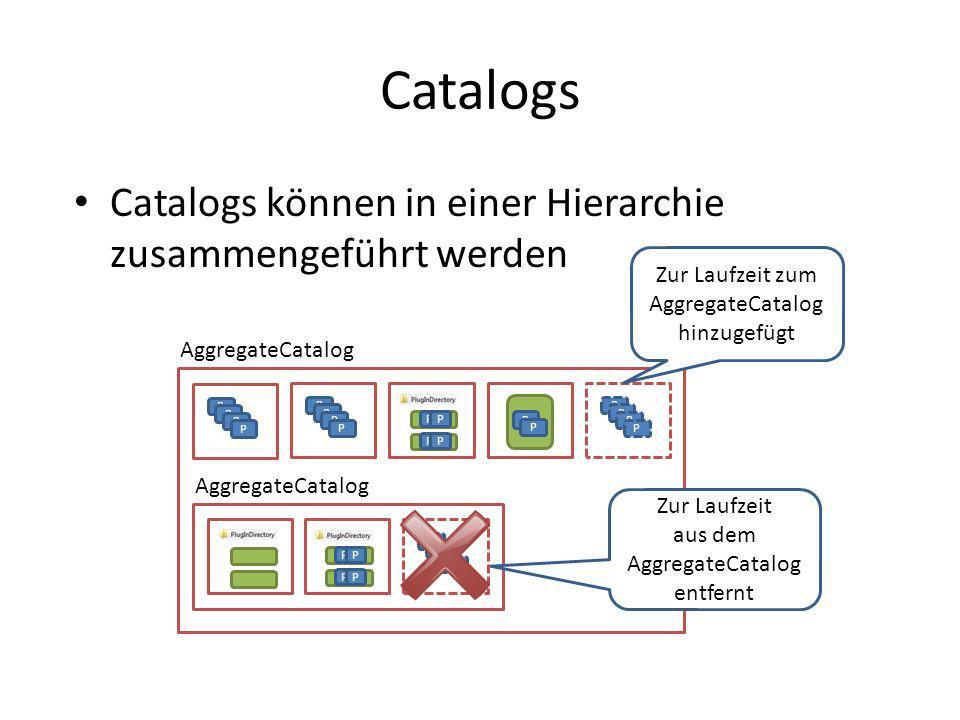 Catalogs Catalogs können in einer Hierarchie zusammengeführt werden