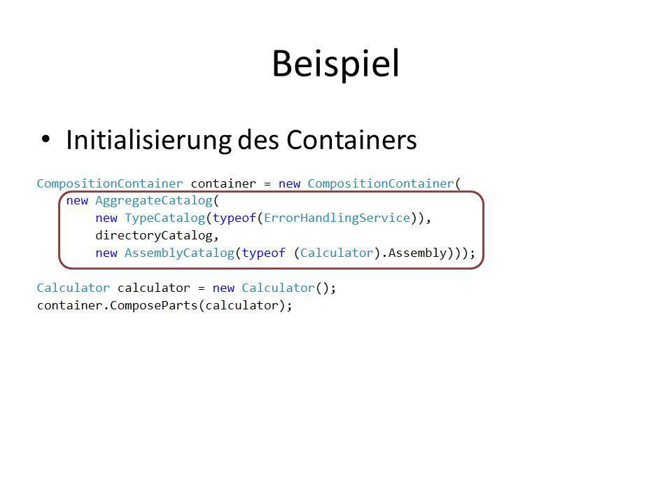 Beispiel Initialisierung des Containers