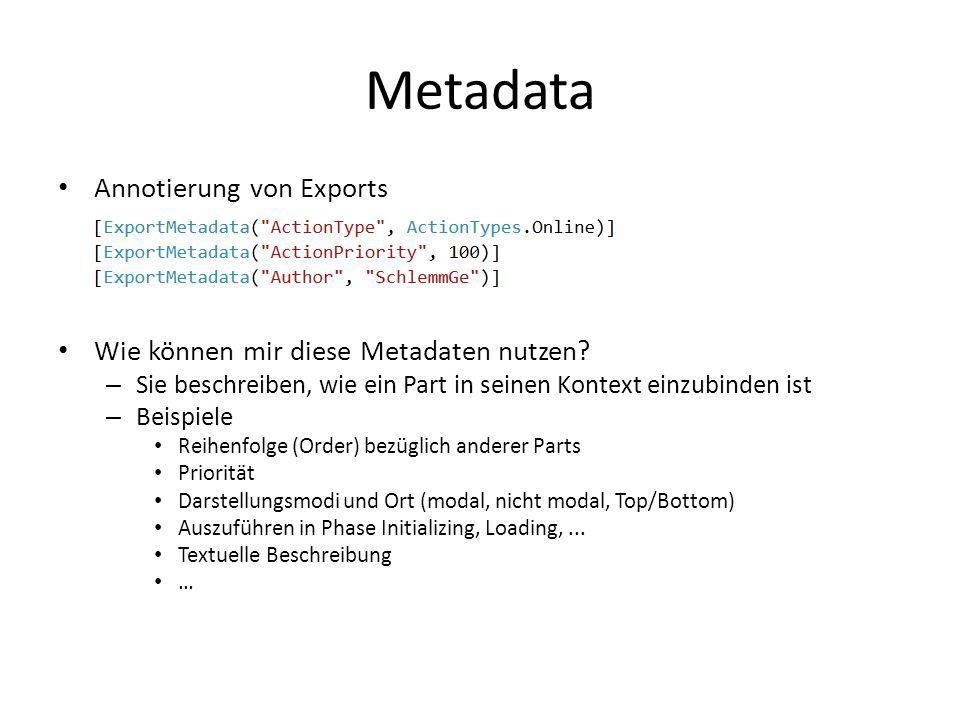 Metadata Annotierung von Exports