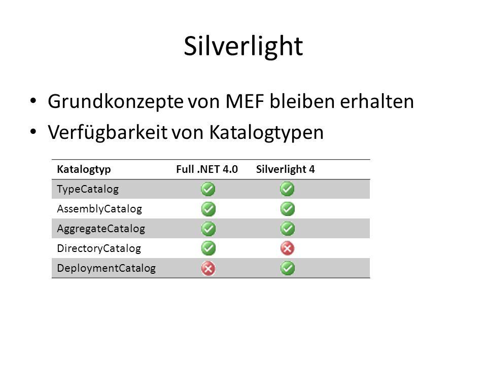 Silverlight Grundkonzepte von MEF bleiben erhalten