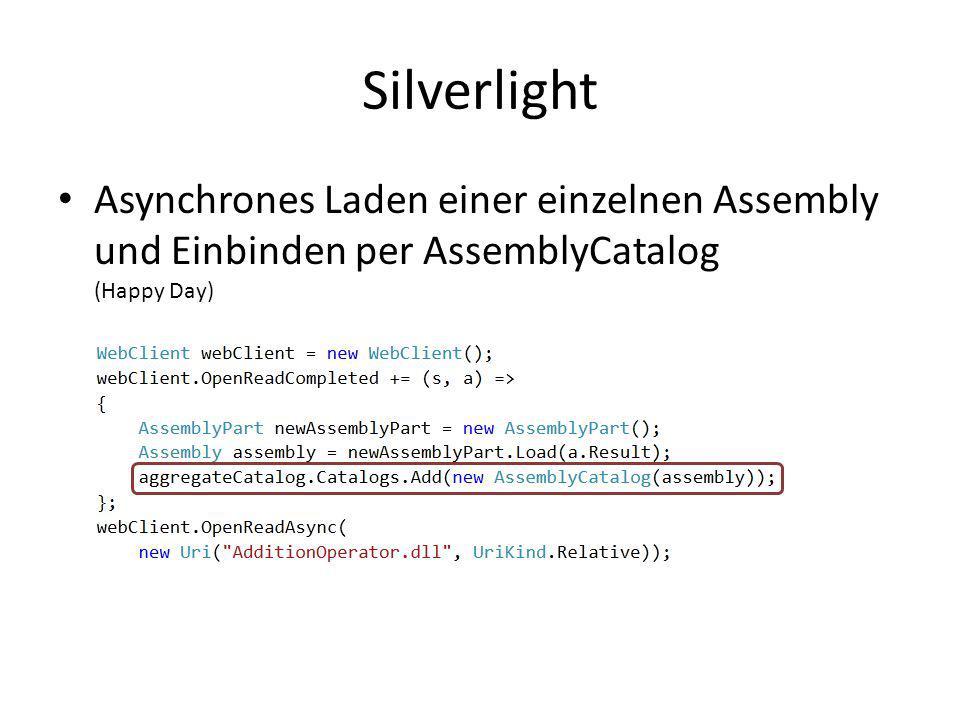 SilverlightAsynchrones Laden einer einzelnen Assembly und Einbinden per AssemblyCatalog (Happy Day)